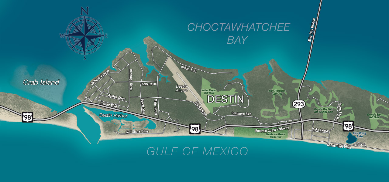 Destin, Florida Map l Affordable rental properties in Destin
